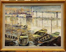 Grand tableau signé M. Moreau ville port bateaux Marine Bretagne
