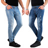 Jeans Uomo Slim fit Strappati Pantaloni Elasticizzati Casual Denim Blu.