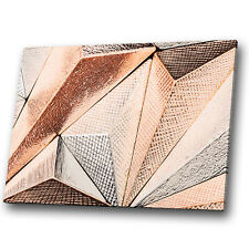 Brown Rose Gold Geometric Abstract Canvas Wall Art Large Picture Prints