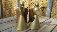 Set of 2 Vintage Copper & Brass Angel Christmas Candle Holders