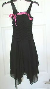 Girls Byer girl 14 black pink ribbon dressy sleeveless dress