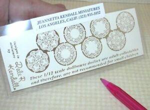 "Miniature Kendall Laser-Cut Paper Doilies, 4 Pairs, 3/4"" Diameter DOLLHOUSE 1:12"