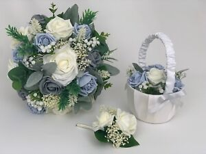 Wedding Bouquets ,flowers posy grey ,blue , Bride ,Bridesmaid ,Flower-Girl Wand