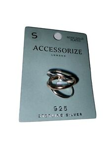 BNWT STERLING SILVER & ROSE GOLD PLATED RINGS SIZE S