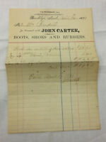 Vintage 1899 Receipt Brooklyn Michigan John Carter Boots Shoes Rubbers