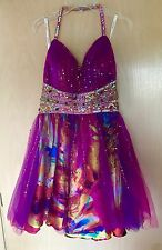 Jovani Dress Prom Gown GORGEOUS Vibrant Pink Purple Yellow Size 2