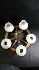 "VINTAGE 18"" WOOD WAGON WHEEL HANGING LIGHT CHANDELIER 5 White FROSTED GLOBES"