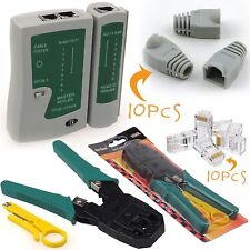 RJ45 RJ11 Cat5e Cat6 Network LAN Cable Tester Crimping Tool Connectors & boots