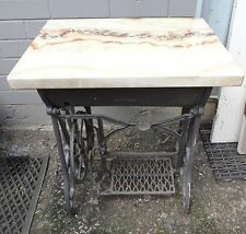 "VINTAGE ""VALLEY"" CAST IRON TREDLE SEWING MACHINE TABLE BASE WITH MARBLE TOP"
