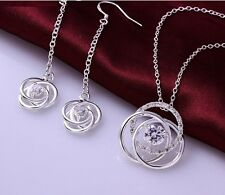 925 Sterling Plated White Cubic Zirconia Necklace And Earring Jewellery Set