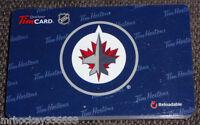 2013 Winnipeg Jets (FD38755) collectible Tim Hortons gift card (NCV) 346