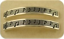 2 Hole Beads Music Score Notes Clef Bars ~ Silver Plated Metal Sliders ~ QTY 2