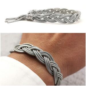 Bracciale da uomo in acciaio inox intrecciato braccialetto a maglia treccia