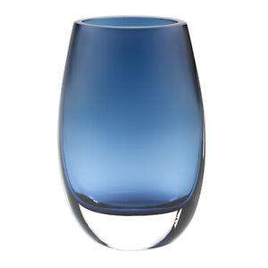 "Badash Crystal Crescendo Midnight Blue European Mouth Blown Oval 7.5"" Vase B14"