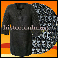 Chainmail Shirt Flat Riveted with Washer Black Chain Mail Hauberk X LARGE Size a