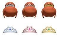 Full Set Princess Hair and Tiara (6pcs) Accessory - Animal Crossing New Horizons