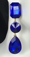 "Bold! 3"" Saphire Blue Crystal Drop Earrings, Drag Queen, Prom, Bridal, Pageant"