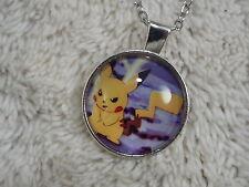 Silvertone Pokemon Pikachu Glass Pendant Necklace (C25)