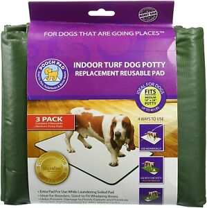 """PoochPads Indoor Turf Replacement Pad Dog Potty Med 8"""" x 28"""" 3-Pack"""