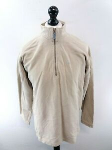 FAT FACE Mens Jumper Sweater S Small Beige Cotton 1/4 Zip