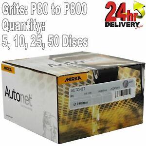 "Mirka Autonet 150mm 6"" Sanding Mesh Disc P80 to P800 Paintwork Dust Extraction"