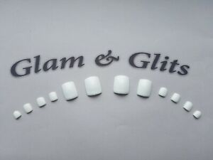 12 Bright White Hand Painted False Toe Nails UV GEL Glue On Artificial Toe Nails