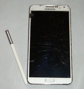 White Samsung Galaxy Note 3 - Cracked Screen - Parts Only - Untested
