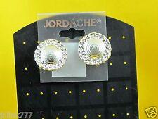 B133:New Jordache Fashion Clip Earrings from USA-Silver Tone