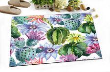 """Watercolor Various Cactus Floral 24x16"""" Kitchen Bathroom Shower Bath Door Mat"""