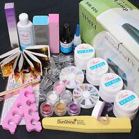 Acrylic Nail Art UV Gel Kits Tools Pink /White 9W lamp Tips Glue Nail Block Set