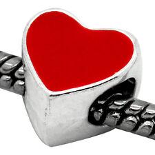 Red Enamel Heart Charmadillo Spacer Bead for Silver European Charm Bracelets