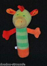 Peluche Doudou Girafe Cheval Bâton BABYSUN Pouet Vert Orange 16 Cm Etat NEUF