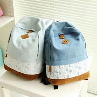 Fashion Womens Girls Canvas School Backpack Shoulder Bag Travel Rucksack