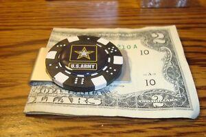 "U.S. ARMY STAR LOGO Aluminum Poker Chip Money Clip 1"" Dome image"