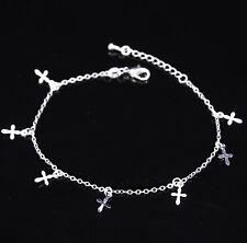 Fashion Cross Silver Anklet Ankle Bracelet Barefoot Sandal Beach Chain Gift