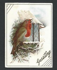 Y14 - ROBIN - MISCH & Co - DIECUT FOLDING STANDING GLITTERED VICTORIAN XMAS CARD