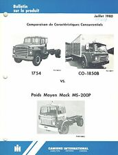 INTERNATIONAL VINTAGE S-SERIES COMP COMPARE TRUCK  PRODUCT BULLETIN 1980 (FR)