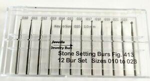 JEWELRY STONE SETTING BURS, FIG 413,12 PC SIZES 010 TO 023, JEWELERS QUALITY