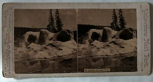 Stereoview Yellowstone Nat'l Park Grotto Geyser Cone