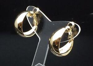 CLIP ON Hoop 14ct Gold GP Fake Piercing Shiny Hoop Earrings 2cm Huggies