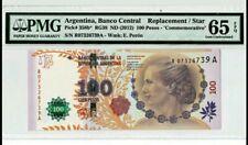 2012 ARGENTINA 100 PESOS COMMEMORATIVE PMG65 EPQ GEM UNC 'Replacement' <P-358b*>