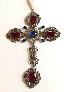 """Ganz Crystal Expressions 8"""" Ornamental Hanging Cross w/Red Acrylic Stones"""