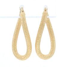 Yellow Gold Textured Twist Hoop Earrings - 14k Pierced Snap Closures