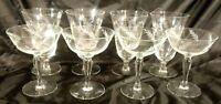 Set of 8 Vintage Crystal Champagne Wine Glasses Stemware with Etched Floral Leaf