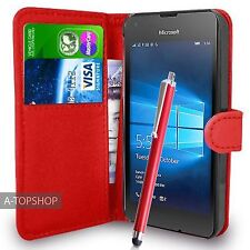 Red Wallet Case PU Leather Book Cover For Micosoft / Nokia Lumia 550 Mobile