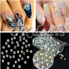 Lots 1000PCS 3mm Nail Art Flatback Crystal AB Faceted Round Rhinestone Beads