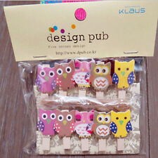 Owl Wooden Clip Photo Paper Craft DIY Clips With Hemp Rope Embellishment 12 Pcs