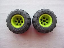 Lego 43.2x28 S Technic Wheels LOT OF 2 Black Balloon Tires & LIME GREEN RIMS