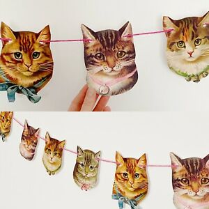 Quirky Cat Garland Bunting Party Wedding Crazy Cat Lady Cat Lover Kitty Kitten