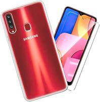 Coque Pour Samsung Galaxy A20S Étui Transparent Slim Silicone TPU + Verre